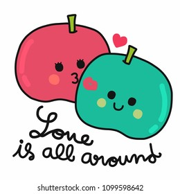 Love is all around cute couple apple vector illustration doodle style