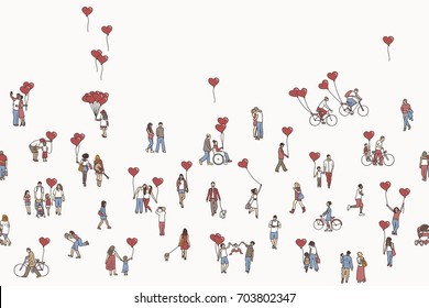 Love is all around - illustration of tiny people holding red, heart shaped balloons. A diverse collection of small hand drawn men, women and kids. Seamless banner, can be tiled horizontally