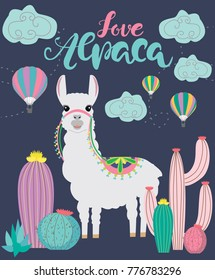 Love Alpaca card for holiday and decoration with cute Llama and cactus. Editable vector illustration