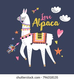 Love alpaca card for holiday and decoration with cute llama and hand drawn elements. Editable vector illustration.