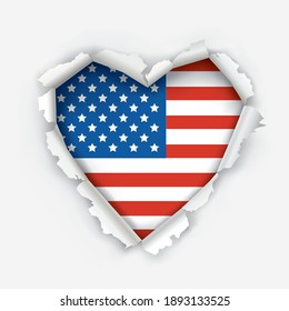 I love America , paper heart symbol. Heart shaped hole torn through paper showing flag of United States. Democratic patriotic concept. Vector available.