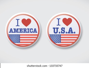 I Love America. i Love USA - Vector Button Badge