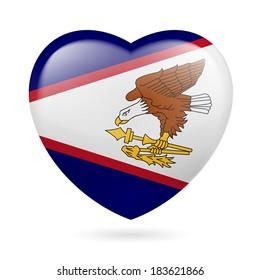 I love American Samoa. Heart with flag design