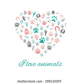 I love animals, Heart, Vector Illustration.Heart with animal's footprints