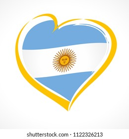 Love Argentina emblem, Independence day banner with heart in national flag color. National holiday in Argentina 9 of july vector greetings card. Celebrate Argentinian anniversary of independence 1816