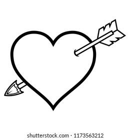 Love Arrow Heart line Icon Vector, transparent