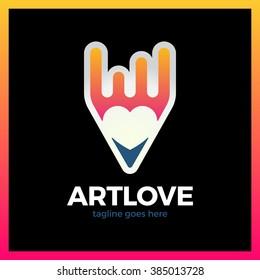 Love Art Pencil Logo. Negative Space Heart