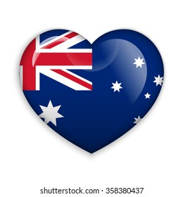 Love Australia.  Flag Heart Glossy Button