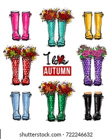 I love autumn greeting card. Different colors wellies collection. Rubber boots with roses flowers and autumn leaves. Vector illustration in watercolor style. Decoration seasonal celebration