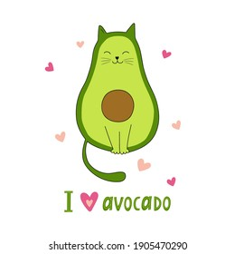 I love avocado. Funny avocado.  Vector illustration. Good for posters, t shirts, postcards.