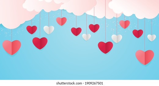 Love background with heart shapes and clouds. Horizontal banner with paper cut clouds and flying hearts in blue sky, paper cut craft art. Happy Valentines day sale concept
