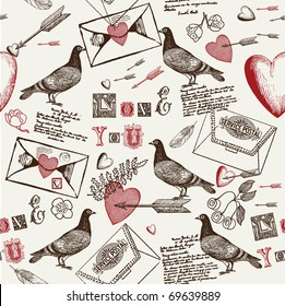 love background with pigeons