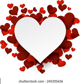 Love background with red hearts. Paper note. Valentine's greeting card. Vector illustration.