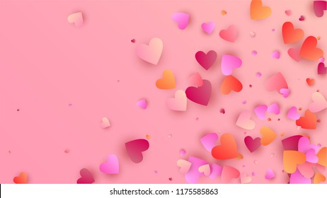Love Background with Red and Pink Hearts. Illustration with Love Heart for your Design. Wedding Background for Greeting Card, Invitation or Banner. Vector illustration.