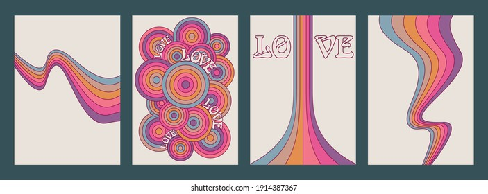 Love Background Set, Psychedelic Color Lines and Waves