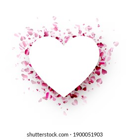 Love background with white paper heart and pink hearts confetti. Valentine's  vector illustration.