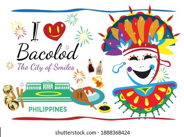 I love Bacolod Philippines concept with local symbols and delicacies such as piaya and chicken inasal. Editable Clip Art.
