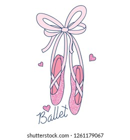 Love ballet typography.Ballerina shoes drawing.Vector illustration design for fashion fabrics, textile graphics, prints, wallpapers and other uses.