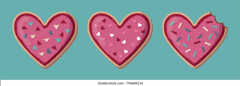 Love banner with heart shape cookies. Valentine day concept
