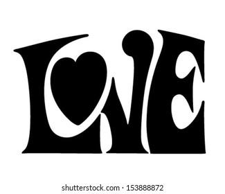 Love Banner - Retro Clip Art Illustration