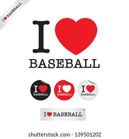 i love baseball, font type with signs, stickers and tags