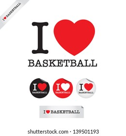 i love basketball, font type with signs, stickers and tags