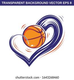 Love basketball transparent background vector illustration eps 8 heart wave