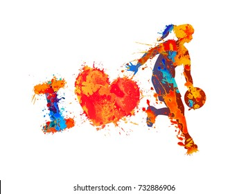 I love basketball. Watercolor splash paint. Vector