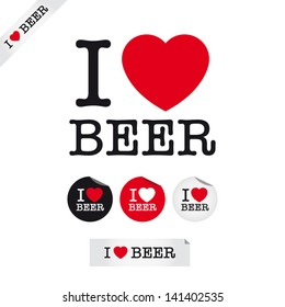 i love beer, font type with signs, stickers and tags. Ideal for print poster, card, shirt, mug.