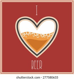 I Love Beer image, heart symbol with beer inside