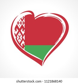 Love Belarus emblem, Independence day banner with heart in national flag color. National holiday in Belarus 3 of july vector greetings card. Celebrating Belarusian 27 years anniversary of independence