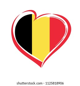 Love Belgium emblem with heart in national flag color. National holiday in Belgium 4 October 1830 vector greetings card. Celebration Belgian anniversary of independence 19 April 1839