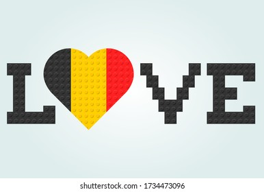 Love Belgium Text. Flag in heart. From plastic building toy bricks or blocks. Vector illustration.