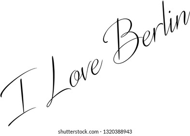 I Love Berlin text sign illustration on white background