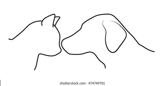Love between dog and cat
