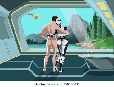 The love between man and robot woman. A relationship between a robot and human. Illustration of concept futuristic couple