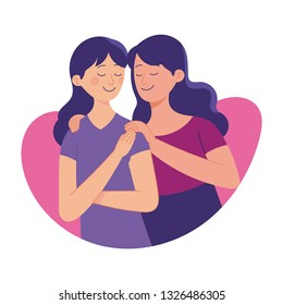 love between sister, older sister love her younger sister, family love bond, vector illustration between two daughter