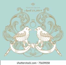 love bird card with ring, best for RSVP wedding card