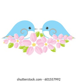 Love birds and cherry blossoms.