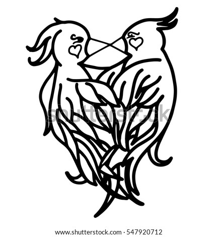 love birds coloring page hand 450w