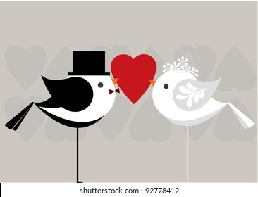love birds getting married vector/illustration