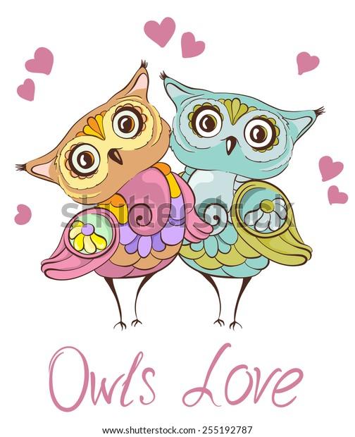 愛鳥 かわいいフクロウ夫婦のグリーティングカード ベクター手描きのイラスト のベクター画像素材 ロイヤリティフリー