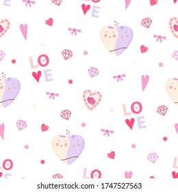 Love birds and heart seamless pattern. Vector