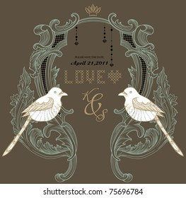 love birds invitation card design