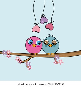 Love birds on top of a branch. Valentine's day card