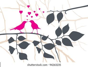 Love Birds on a Tree - Vector Illustration