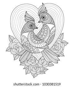 Love birds and roses. Zentangle stylized cartoon isolated on white background.  Hand drawn sketch illustration for adult coloring book, T-shirt emblem, logo or tattoo, zentangle design elements.