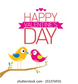 love birds vector illustration. valentine day love beautiful card with cute love couple birds