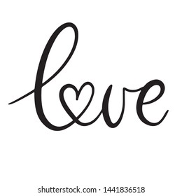 Love black and white lettering vector illustration with calligraphy style word and heart shape. Handwritten text for fabric print, logo, poster, card. EPS10