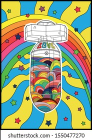 Love Bomb Vintage Psychedelic Hippie Poster Style, Rainbow, Stars, Sun rays, Bright Colors
